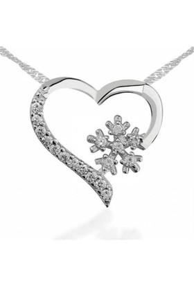 Affix Silver Gümüş Kalp Kartanesi Kolyesi