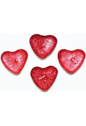 Parti Şöleni Kırmızı Simli Kalp Tealight Mum