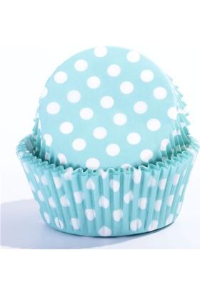 Parti Şöleni Mavi Puanlı Cupcake Kabı 40 Adet