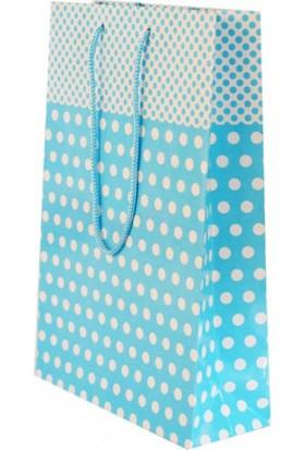 Parti Şöleni Mavi Puanlı Karton Çanta