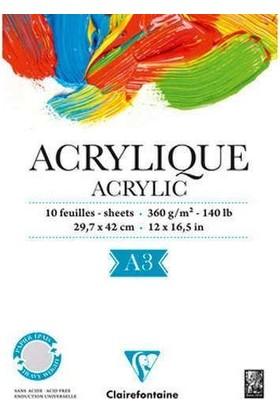 Clairefontaine Acrylique Akrilik ve Suluboya Blok 10 Yaprak 360 gr. A3