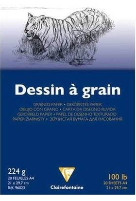 Clairefontaine Dessin a Grain İnce Dokulu Çizim Bloğu 20 Yaprak 224 gr. A4