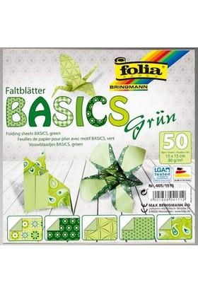 Folia Origami Kağıdı 5 Desen 50 Adet Kağıt Yeşil 15 X 15 cm
