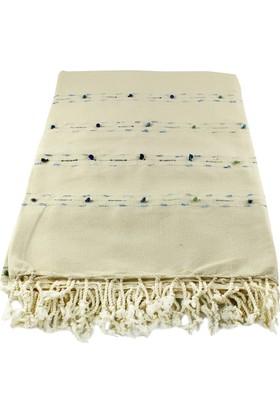 El Dokuması Ponponlu Masa Örtüsü 150x240 Cm Krem-Mavi-Turkuaz