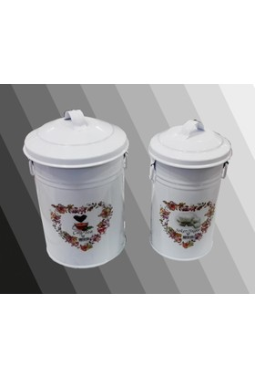 Oyks Metal Çay Şeker Kovası 2li Beyaz
