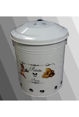 Oyks Teneke Patates Soğan Kutusu Beyaz