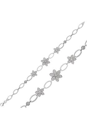 Bayan Lili Gümüş Yasemin Çiçeği Bileklik