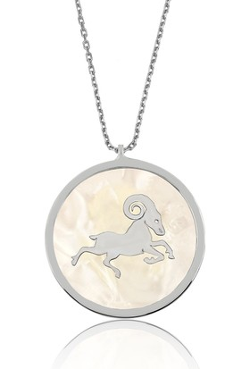 Bayan Lili Gümüş Sedef Taşı Koç Kolye