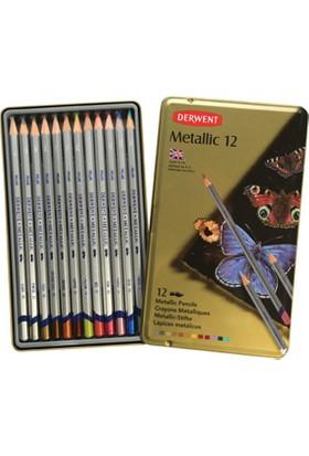 Derwent Metallic Pencils Metalik Renk Boya Kalemi Teneke Kutu 12'Li