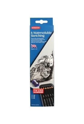 Derwent Watersoluble Sketching Pencils Suda Çözünebilen Çizim Kalemi Teneke Kutu 6'Lı