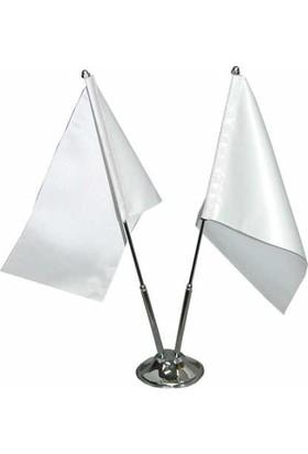 Bk Sublimasyon İkili Masa Bayrağı (2 Beyaz Bayrak)