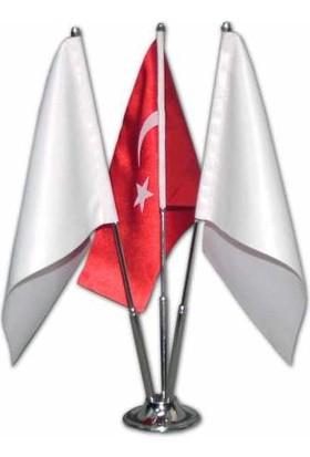 Bk Sublimasyon Üçlü Masa Bayrağı ( 2 Beyaz Bayrak + 1 Türk Bayrağı)
