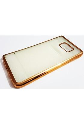 Mobillife Samsung Galaxy Note 5 Yumuşak Silikon Gold Kenar Simli Şeffaf Kılıf