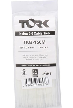 Tork Tkb-150M 2.5-150 Beyaz Kablo Bağı 100Lü Paket