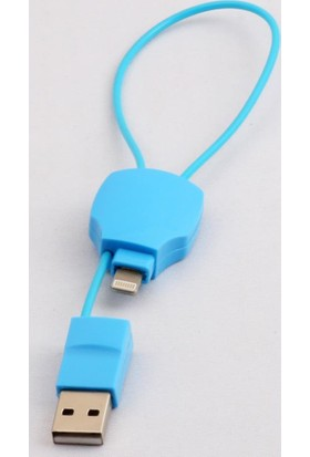 Vcom M533 Iphone-Mıcro Kablo 21,5Cm Mavi Çift Uçlu
