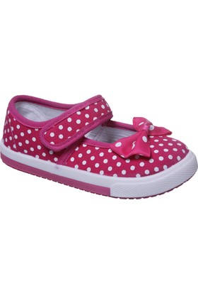 Sanbe Cırtlı Kız Babet Keten Ayakkabı Fuşya