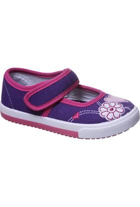 Sanbe Cırtlı Kız Babet Keten Ayakkabı Mor