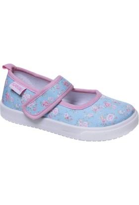 Sanbe Cırtlı Kız Babet Keten Ayakkabı Turkuaz