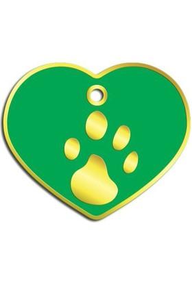 Dalis Pet Tag - Kalp Şeklinde 24 Ayar Altın Kaplama Büyük Köpek Künyesi (Yeşil)