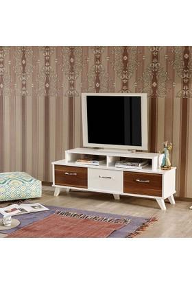 Abre-454 Moda Tv Sehpası Beyaz Ceviz