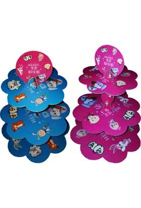 Tahtakale Toptancısı 3 Katlı Çift Taraflı Cupcake Standı Diş Temalı Kek Standı