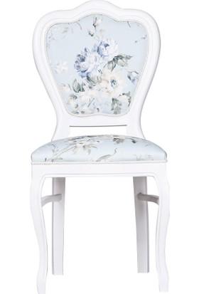 Evimdeki Bahar Oymalı Sandalye Mavi Desen