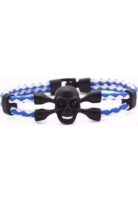 Mavi Beyaz Örgü Deri Halat Siyah Kurufa Moda Bileklikler