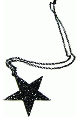 Siyah Yıldız Pentagram Zincirli Kolye Kore Takı Modeli