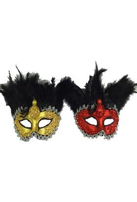 Tvs Taşlı Tüylü Venedik Parti Maskesi