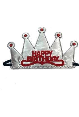 Tvs Happy Birthday Kumaş Prenses Kraliçe Tacı Gümüş Renk