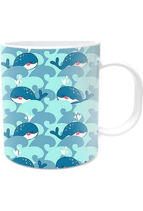 Fotografyabaskı Sevimli Balinalar Beyaz Kupa Bardak Baskı