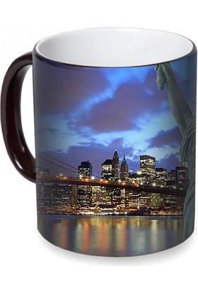 Fotografyabaskı Brooklyn Köprüsü New York Sihirli Siyah Kupa Bardak Baskı