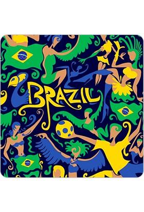 Fotografyabaskı Brezilya Renkler Bardak Altlığı Baskı 4'lü Set