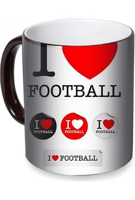 Fotografyabaskı Futbolu Seviyorum Sihirli Siyah Kupa Bardak Baskı