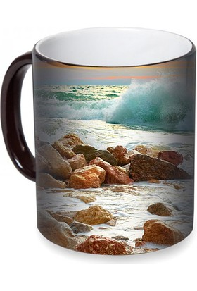 Fotografyabaskı Deniz Kıyısı ve Dalgalar Sihirli Siyah Kupa Bardak Baskı