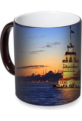 Fotografyabaskı Kız Kulesi (İstanbul) Sihirli Siyah Kupa Bardak Baskı