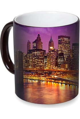 Fotografyabaskı Şehir Merkezi (Newyork) Sihirli Siyah Kupa Bardak Baskı