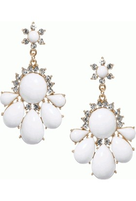 Yeni Sezon Romantik Stil Beyaz Çiçek Küpeler