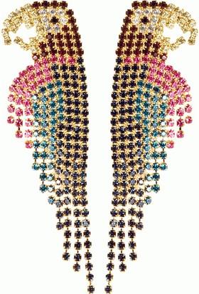 Yeni Moda 2016 Rose Gold Uzun Drop Küpeler Lüks Kristal Papağan Küpe