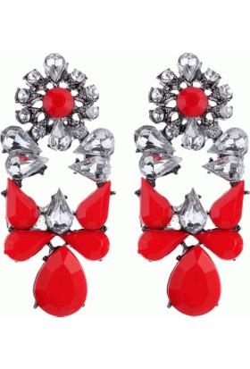 Şık Tasarım Küpe Kristal Taşlı Çiçek Moda Kırmızı Küpe