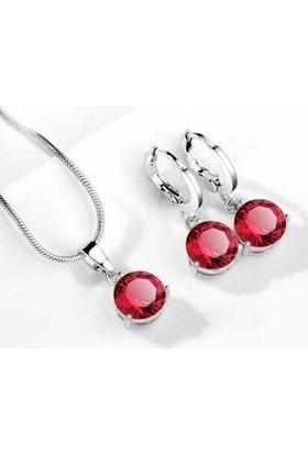 Kırmızı Taşlı Kolye Yuvarlak Kübik Zirkon Hipoalerjenik Kolye ve Küpe Gümüş Kaplama
