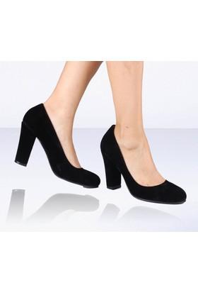 İnce Topuk Siyah Süet Topuklu Ayakkabı