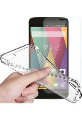 Angel Eye General Mobile Discovery Air Ekran Koruyucu + Şeffaf Silikon Kılıf