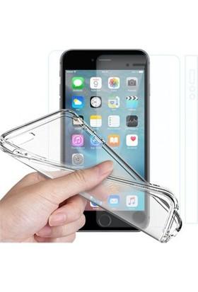 Angel Eye iPhone SE Ekran Koruyucu + Şeffaf Silikon Kılıf