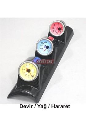 CARUB 7 Renk Carbon Takometre 3 lü Yan Direk Devir-Volt-Hararet