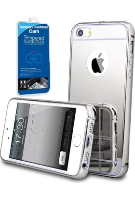 Teleplus Apple iPhone 5 Aynalı Metal Kapak Kılıf Gümüş + Cam Ekran Koruyucu