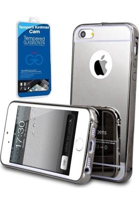 Teleplus Apple iPhone 5 Aynalı Metal Kapak Kılıf Siyah + Cam Ekran Koruyucu