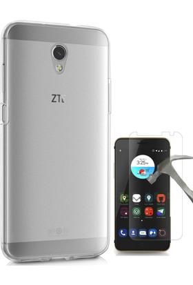 Teleplus ZTE Blade V7 Tam Korumalı Silikon Kılıf Şeffaf + Cam Ekran Koruyucu