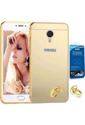 Teleplus Meizu M3 Note Aynalı Metal Kapak Kılıf Gold + Cam Ekran Koruyucu