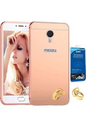 Teleplus Meizu M3 Note Aynalı Metal Kapak Kılıf Rose Gold + Cam Ekran Koruyucu